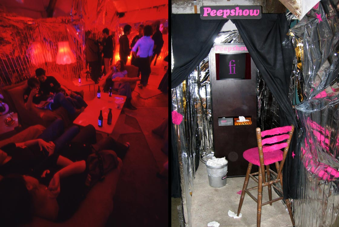 Rosa-Punze-Lounge und Peepshow